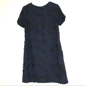 BANANA REPUBLIC Navy Floral Embroidered Dress (6)